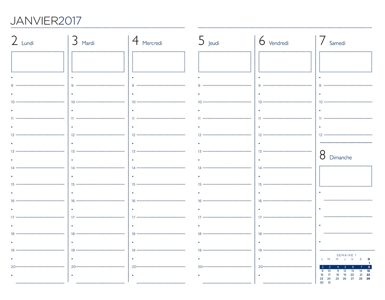 12.19 Agenda Semaine sur deux pages. Vertical
