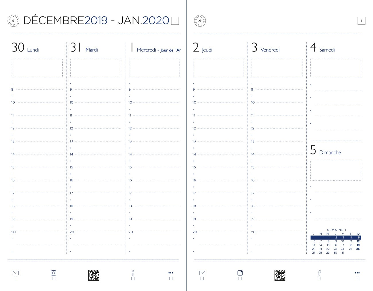 12.19 Agenda 2020 Semaine sur deux pages. Vertical