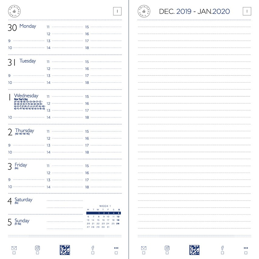 08.16 Diary Worldwide 2020 Week on a page and notes. Horizontal